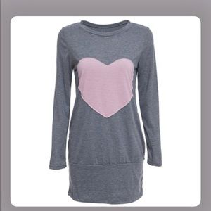 Gray Long Sleeve Heart Print Sleepwear